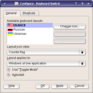 KKBSwitch config dialog, General page